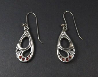 OOAK Garnet Earrings - Sterling Silver Art Nouveau Style Drop Earrings