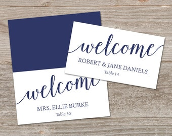 Navy Place Cards Printable, DIY Place Cards // Editable Place Card Templates, Navy Wedding Name Cards // Instant Download