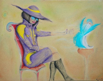 Fashionable Damsel In A Pretty Coat. Sitting In A Chair. Pastel Card
