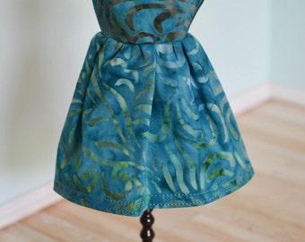 Handmade Blythe Doll Dress - Motley Teal Swirls