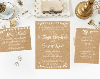 Printable Kraft Wedding Suite