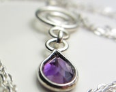 Genuine Amethyst in 925 Sterling Silver Necklace Natural Amethyst Pendant Amethyst Necklace Purple Lilac Necklace February Birthstone