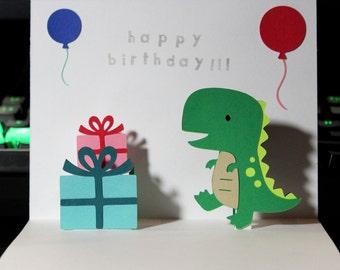 Pop Up Card - Dinosaur - Happy Birthday