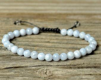 Throat Chakra Bracelet, Blue Lace Agate Bracelet, Yoga Bracelet, Meditation Bracelet, Chakra Healing, Crystal Healing, Beaded Bracelet, Mala