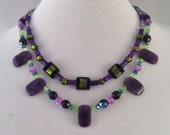 OOAK Holiday Purple Green Black Beaded Multi Strand Statement Necklace