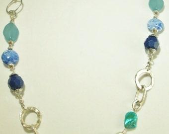 Vintage MOD Blue Silver Circles Statement Long Necklace