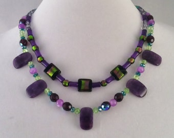 Purple Green Black Beaded Multi Strand Statement Necklace