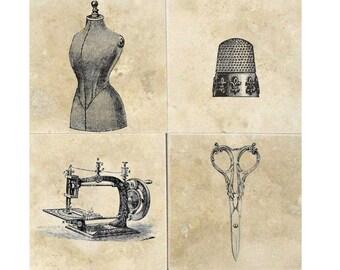 Vintage Sewing- Natural Stone Drink Coasters