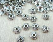 Bead Cap, Star - Antiqued Silver Star Bead Caps (0848Y) - 7mm x2.5mm - Qty 100