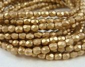 4mm Czech Glass Fire Polished Beads - Gold Metallic Matte Finish (FP080) - Qty 50