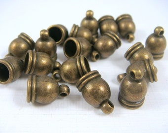 Brass Cord Ends - Antiqued Bronze End Caps (4736AB) - Glue in Cord End Caps - 12x7mm (6mm hole) - Select Qty.