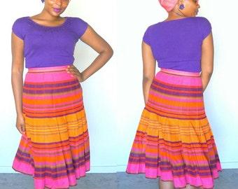 70s YSL Rainbow Pleated Skirt Saint Laurent Rive Gauche Size 40 Medium Cotton