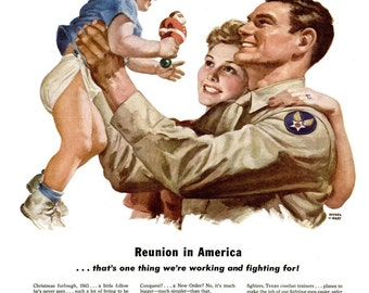 1943 WWII War Baby North American Aviation & Seagrams VO Canadian Whiskey Ads Military Army World War II Wartime Home for Christmas Wall Art