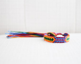 Friendship Bracelet Geometric Tribal Colorful Magenta Yellow Purple Orange Blue Green Bracelet / Stocking Stuffer
