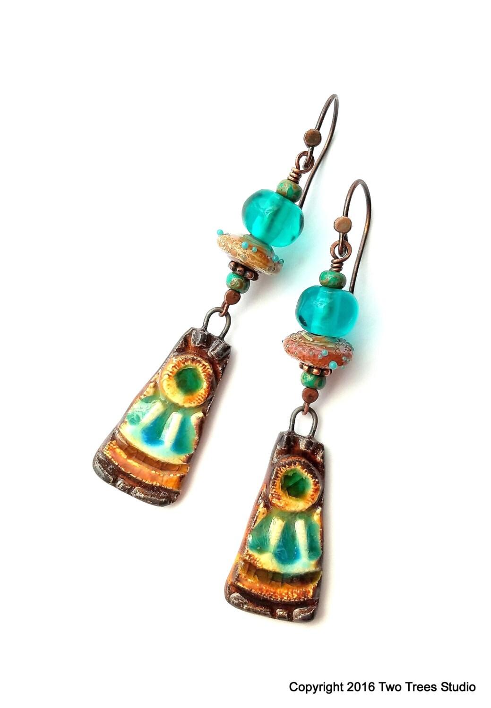 Artisan Earrings : Artisan earrings rustic boho ooak glazed ceramic lampwork
