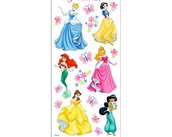 Disney Princess Stickers with Glitter Accents - Cinderella Ariel Belle Snow White Jasmine Aurora - Pretty Pastel Colors - Clear Thin Vinyl