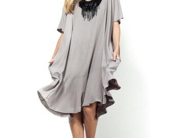 25% off! Short dress / daily dress / oversize dress /gray dress / peplum dress