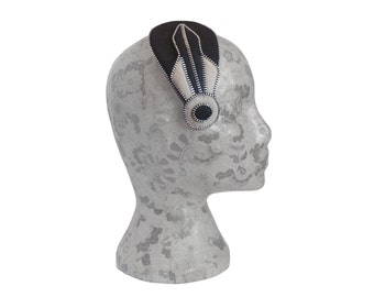Black, Beige and Silver Art Deco Fascinator - Zips And Felt