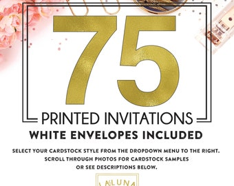 Set of 75 printed invitations / cards