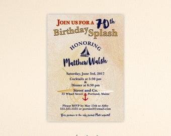 Adult Birthday Invitation, masculine, nautical, 30th, 40th, 50th, 60th, 65th, 70th, 90th, boating, digital, printable invite A7001
