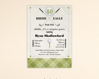 Adult Birthday Invitation, masculine, golf, 30th, 40th, 50th, 60th, 65th, 70th, 90th, retirement, digital, printable invite A7006