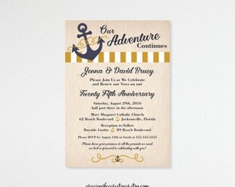 Vow Renewal Invitation, Anniversary, 5th, 15th, 20th, 25th, 35th, 50th, Wedding Invitation, Invite, Post Wedding, Nautical, Beach, V62051