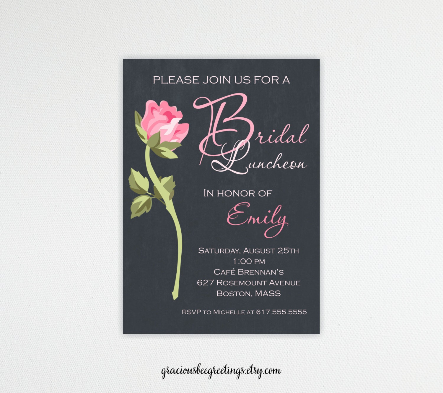 Bridesmaid luncheon invitations bridal lunch brunch for Wedding brunch invitations