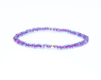 Beaded Bracelet in 14K Solid Yellow Gold - Beach Boho Stretch Cord - Purple & Blue African Czech Glass Beads - Men Women Unisex Gift Him Her