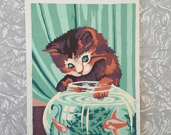 Vintage Paint by Numbers Playful Kitten