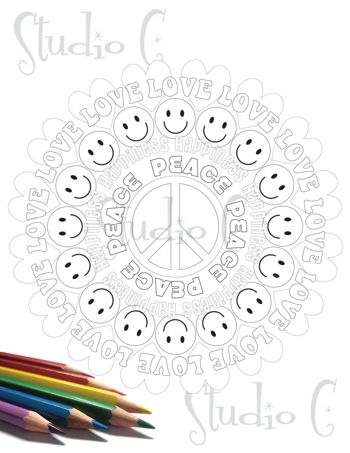 Peace love happiness mandala color page by studiocshop for Peace love happiness coloring pages