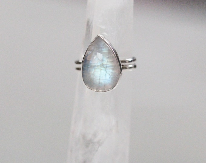 Rainbow Moonstone Ring, Boho Ring, Teardrop Ring, Gypsy Ring, Statement Rings, Solid 925 Sterling Silver Rings, Don Biu