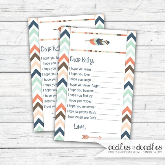 Tribal Baby Shower, Dear Baby, Baby Wish Cards, Fill in the Blank Baby Wishes, Boho Baby Shower, Gender Neutral, Arrows, Feathers, Printable
