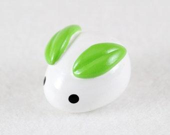Mochi Bunny Figurine - Polymer Clay Miniature - Miniature Snow Bunny - Polymer Clay Mochi Bunny Sculpture - Miniature Mochi Bunny