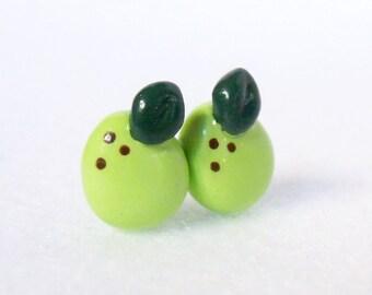Mini Green Pear Earrings - Polymer Clay Post Earrings - Silver Plated, Nickel Free, Lead Free Posts