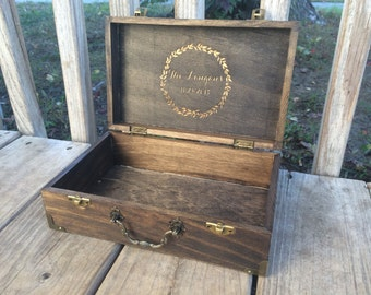 Small Engraved Wooden Suitcase Gift Box - Dad - Father's Day - Men's Gift