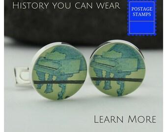 Piano Cuff Links for Men.  Custom Cufflinks Handmade from Steinway Piano Stamps. Men's Cufflinks, Great Pianist Gift.