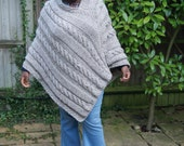 BLACK FRIDAY SALE Fuller Woman Chunky Knit  Poncho in Latte/Knitted Poncho/Women Poncho