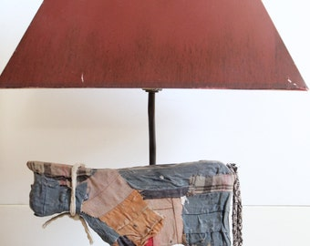 Vintage Rustic Folk Art Table Lamp by Tyndale Lamps of Chicago