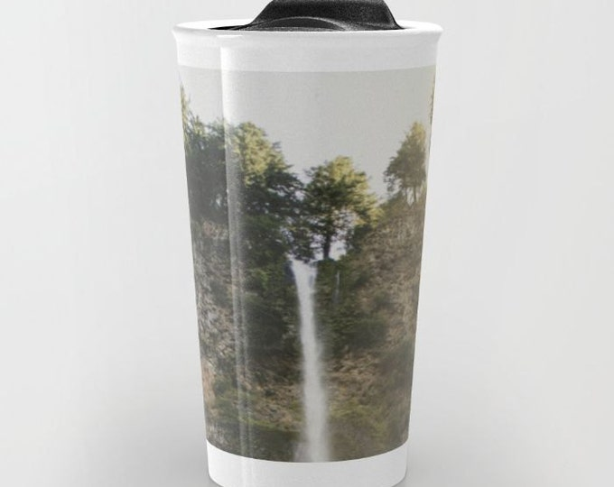 Nature Travel Mug Ceramic - Multnomah Falls - Coffee Travel Mug - Waterfall Photo - Hot or Cold Travel Mug - 12oz Travel Mug -Made to Order