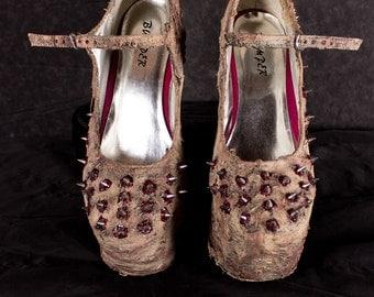 Flesh Heels- Dead Threadz Anti-Gravity Heels, altered with a  custom made latex Bloodlust design
