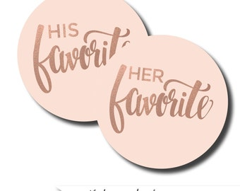 His/her favorite stickers, favorite stickers, treat bag stickers, wedding favor labels, edible favors, midnight snack labels, treat labels