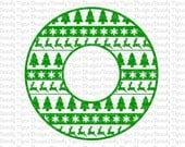 Aztec / Tribal Christmas Circle Monogram Frame Cut File Set in Svg, Eps, Dxf, and Jpeg Format and Silhouette Software, COMMERICAL SVG