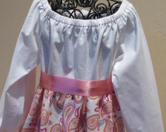 Pink Paisley Fun Peasant Dress