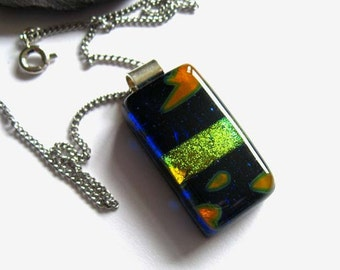Statement fused glass jewellery. Sparkling dichroic fused glass pendant, navy necklace, gold stripe glass, gift for her, NL107, stripes