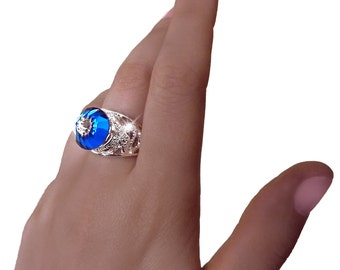 Snake ring, dome ring, magic ring, blue glass ring, cocktail ring, vitrail ring, statement ring, spike ring, glass art, gothic ring, OOAK