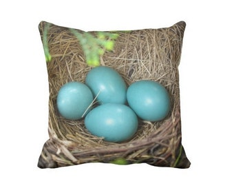 Robin Nest Pillow Case, Robin Egg Pillow, Bird Nest Pillow, Nursery Pillow, Blue Pillow Cover, Canvas throw pillow, Spring Pillow, 16X16