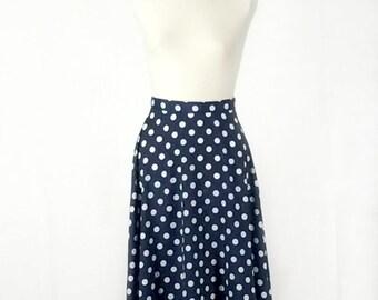 Blue and White Polka Dot Midi Circle Skirt