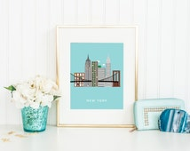 New York City Print, New York Wall Art, NYC Skyline Print, Travel Poster, New York Decor, New York Print, Last Minute Gift, INSTANT DOWNLOAD