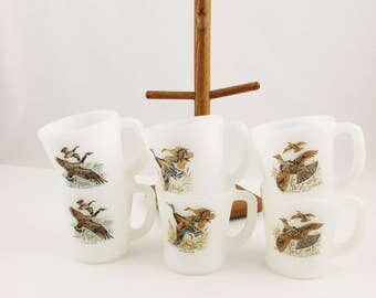 Six 'Game Bird' Mugs and Wood Cup Stand - White Fire-King Milkglass - Kitchen or RV - Hot Coffee - Camping - Retro Kitchen - Cabin Life