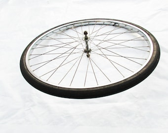 A Bike Wheel - Wire Spoke Bicycle Wheel  - Sear Roebuck Bicycle - Decorative and/or Useful - Designer Wheel -